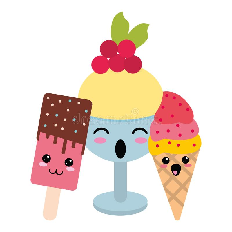 Candy and desserts kawaii cartoon. Candy and desserts kawaii ice cream popsicle and cup cartoon vector illustration graphic design stock illustration
