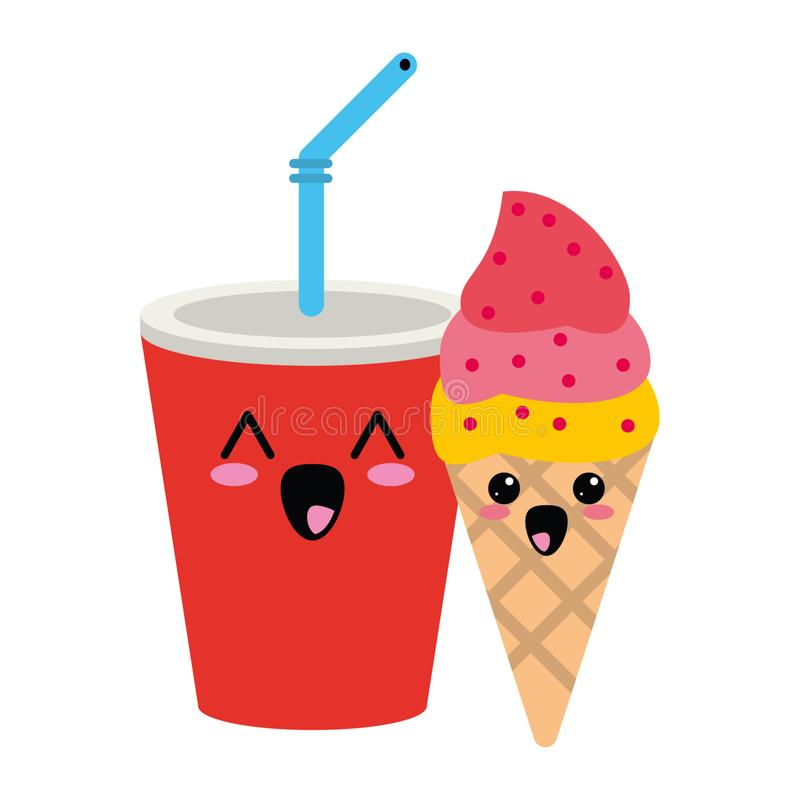 Candy and desserts kawaii cartoon. Candy and desserts kawaii soda cup and ice cream cone cartoon vector illustration graphic design vector illustration