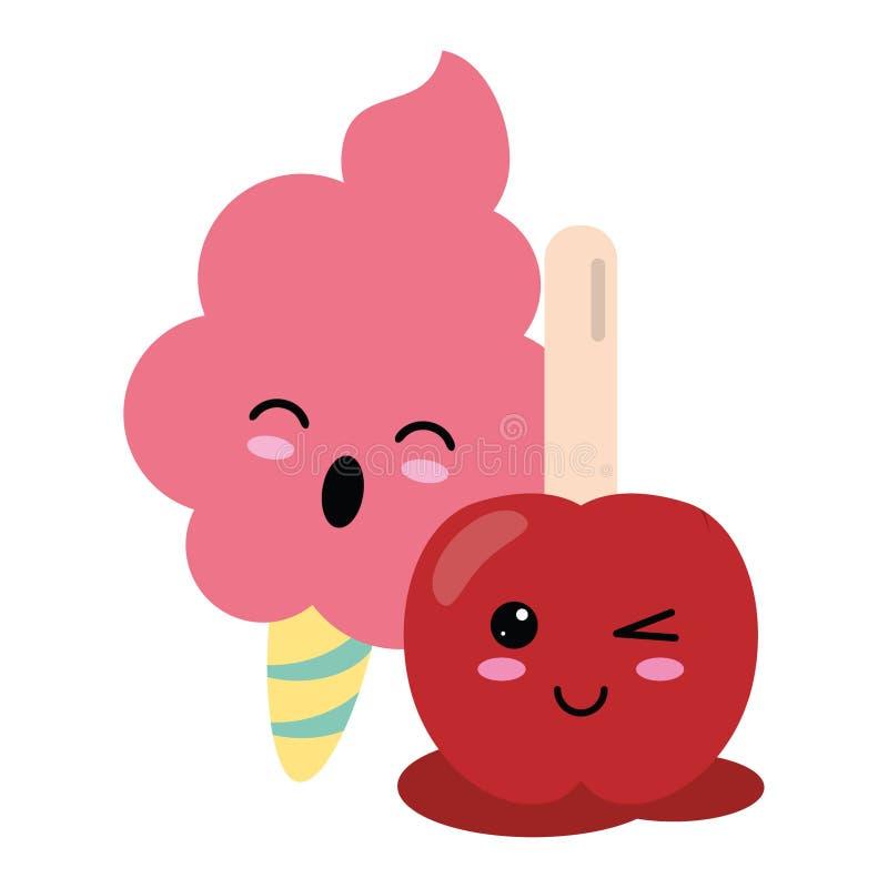 Candy and desserts kawaii cartoon. Candy and desserts kawaii sugar cotton and caramel apple cartoon vector illustration graphic design royalty free illustration