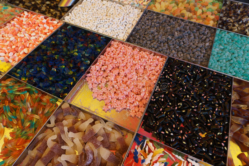 Candy on display in a store stock photo