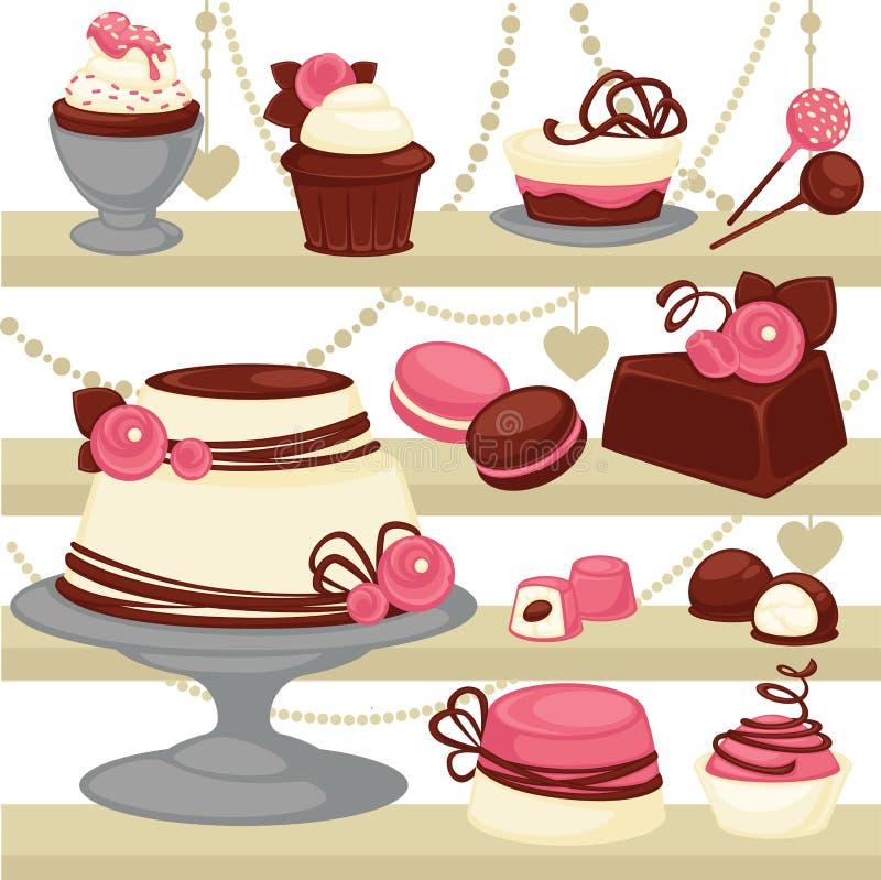 Candy ed il dessert agglutinano o la progettazione del menu della pasticceria di vettore del biscotto del gelato illustrazione di stock