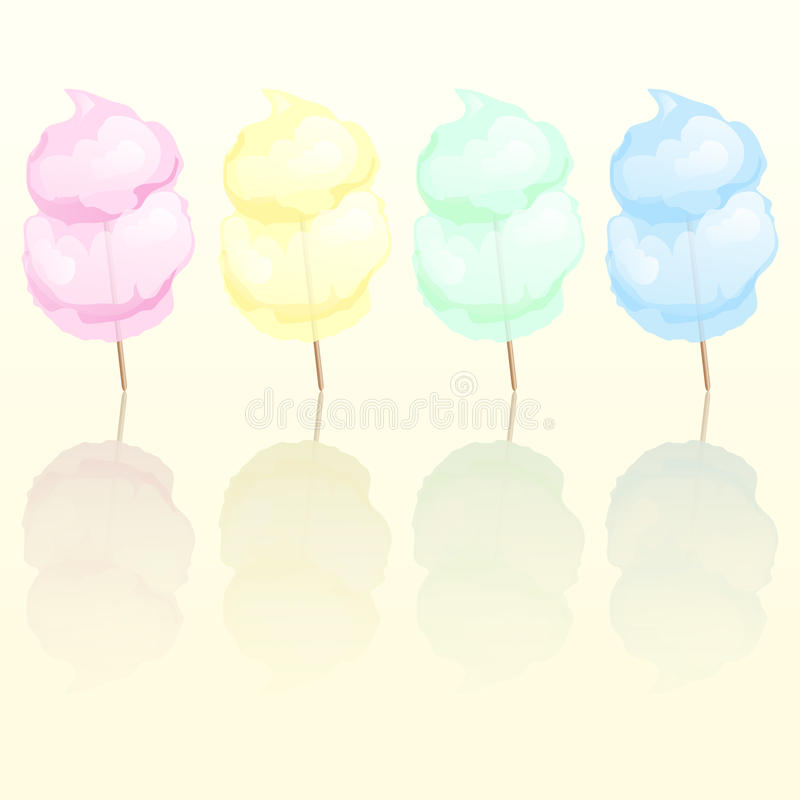 Candy floss. In four different colours reflected vector illustration