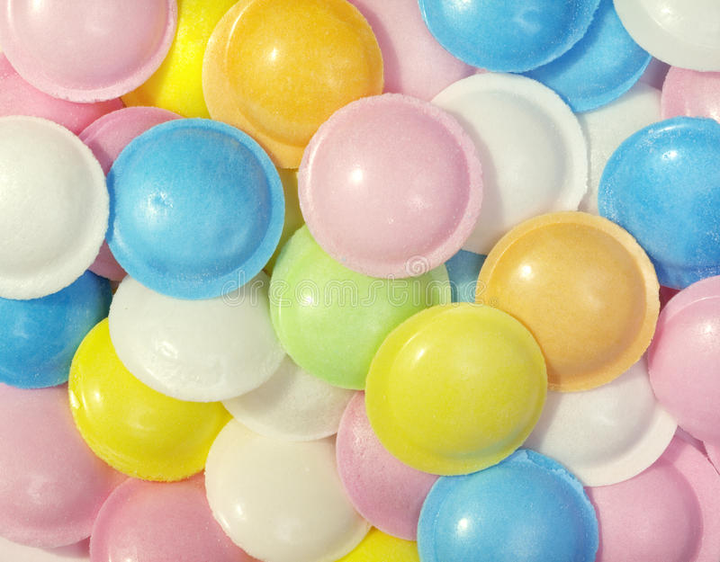 Candy Flying Saucers. Colorful candy sherbert flying saucers stock photos