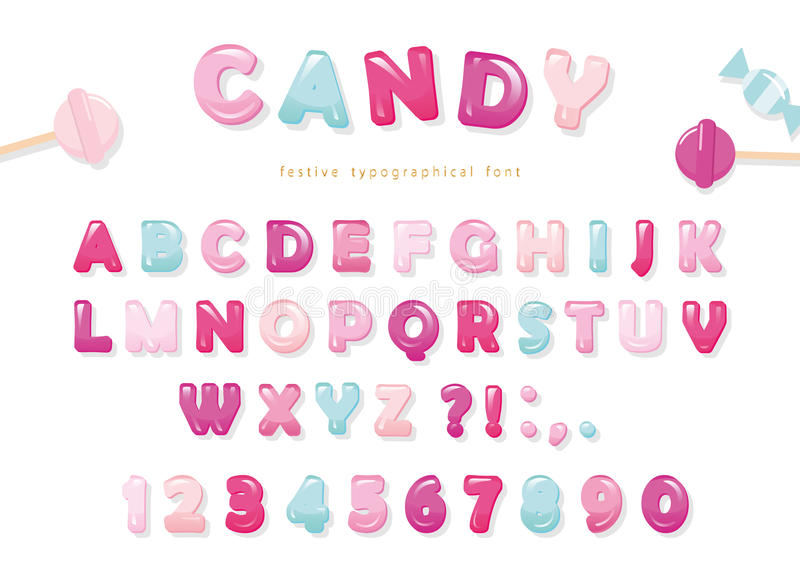 Candy glossy font design. Pastel pink and blue ABC letters and numbers. Sweets for girls. stock illustration
