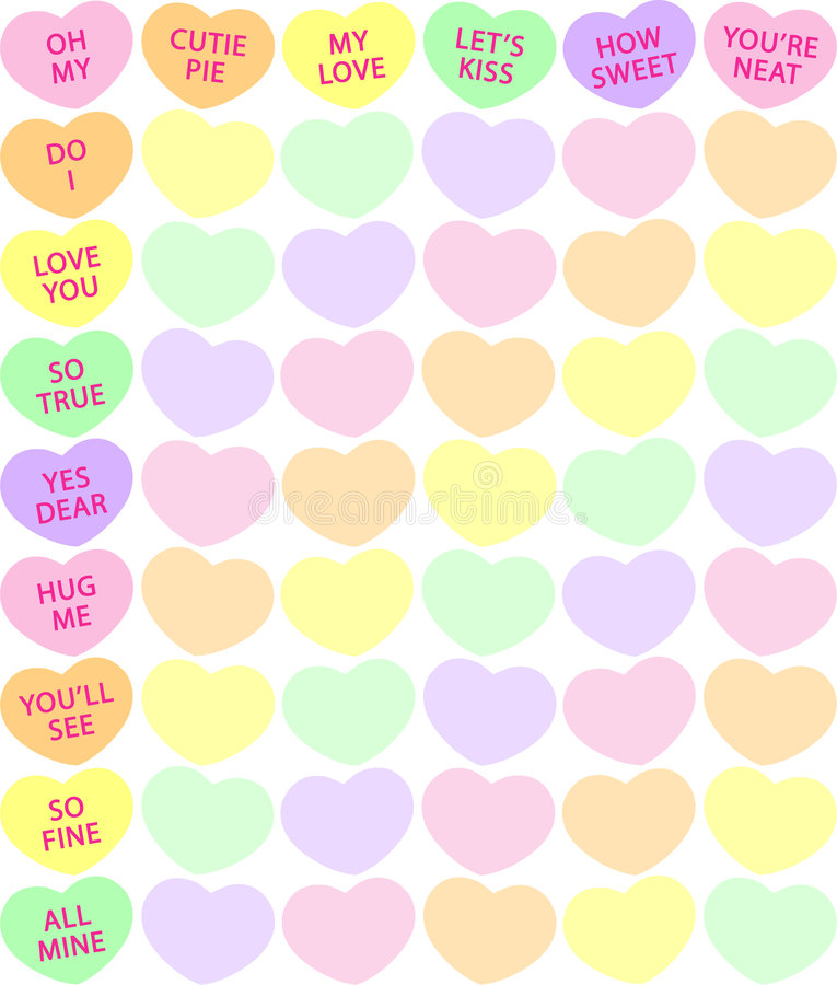 Candy Heart Background. Background illustration of traditional conversation candy hearts