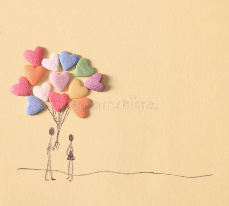Candy heart balloon illustration. Candy heart balloon hand-drawn illustration for Valentine`s day card stock image