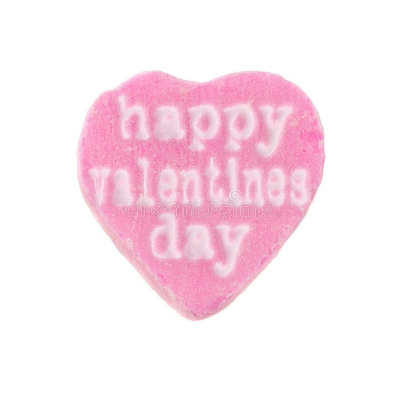 Candy Heart Happy Valentines Day. Pink candy heart with the words Happy Valentines Day printed on it. Valentine's Day concept royalty free stock image