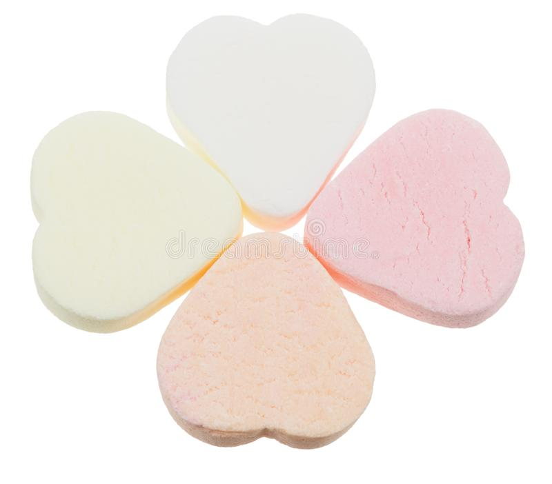 Candy heart shaped sweets stock images