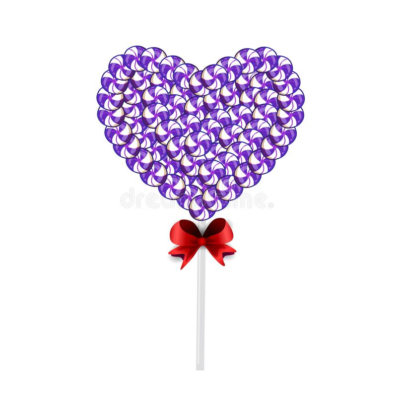 Candy heart on stick with twisted design on white vector illustration