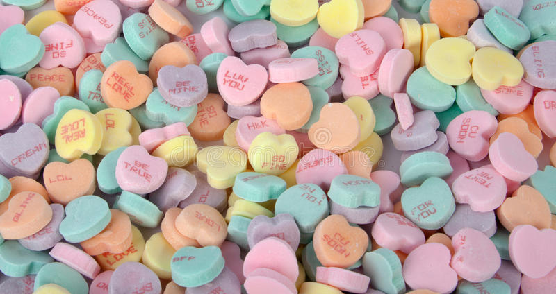 Candy Hearts. A bunch of colorful Valentine's candy hearts stock images