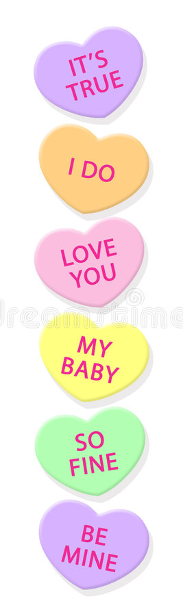 Free Candy Hearts-vertical Royalty Free Stock Photography - 416647