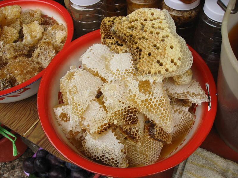 Candy honey bees. Food related to candy featuring honey bees. The candy food category is sweets stock photo