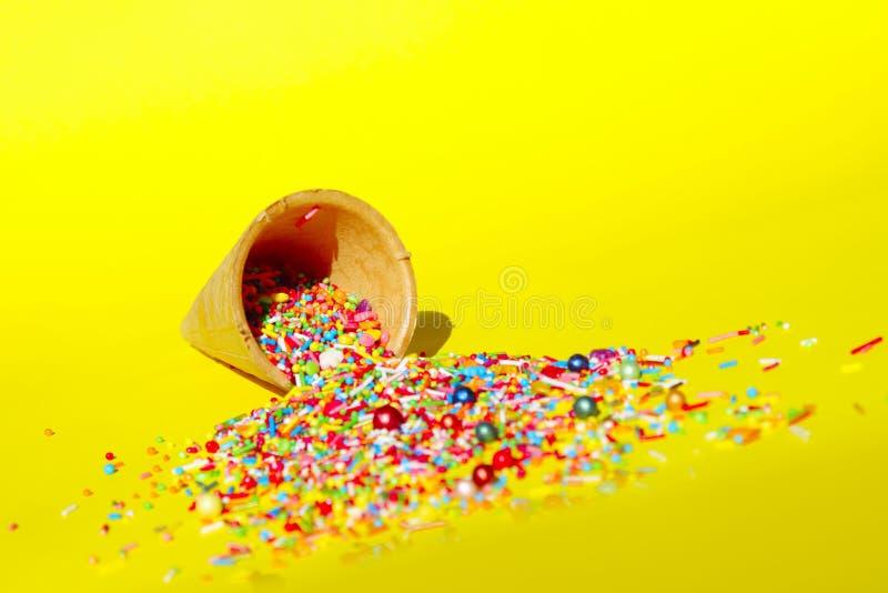Candy In Ice Cream Cone.Minimal Art Design. stock image