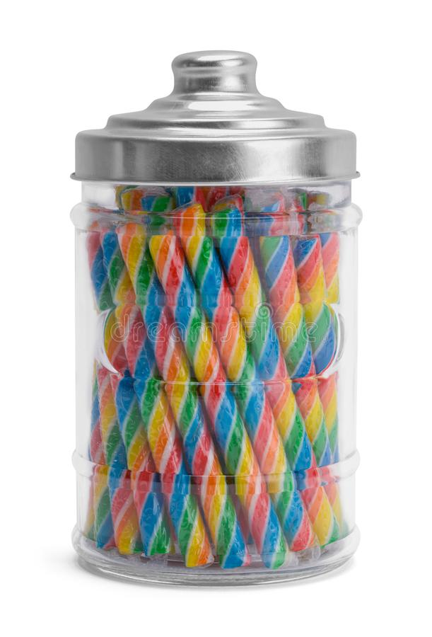 Candy Jar. Fullk Candy Jar Isolated on White Background royalty free stock photos