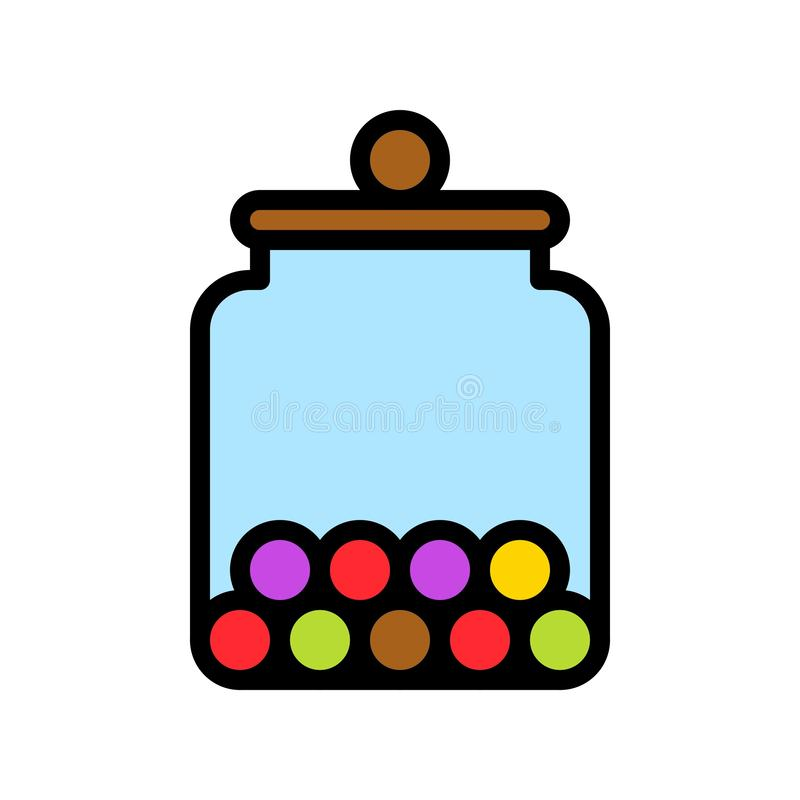 Candy jar vector illustration, filled style icon editable outline. Candy food jar vector illustration, filled style icon editable outline vector illustration
