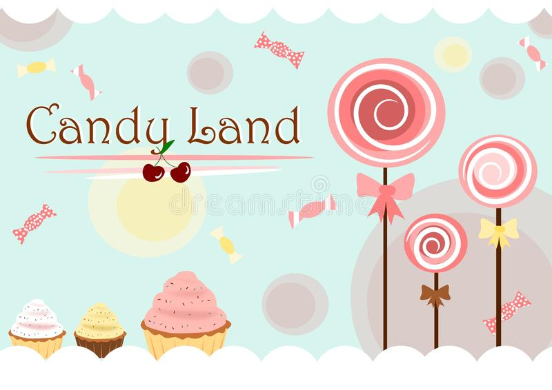 Candy land. Illustration of the candy land background with lollipops cupcakes and candies royalty free illustration