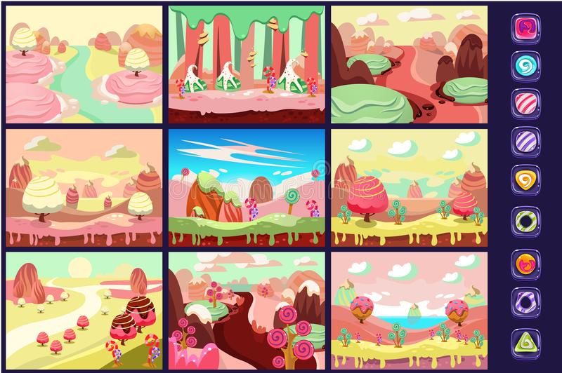 Candy land, collection of fairy tale landscapes, details for computers game interface vector Illustrations. Web design royalty free illustration