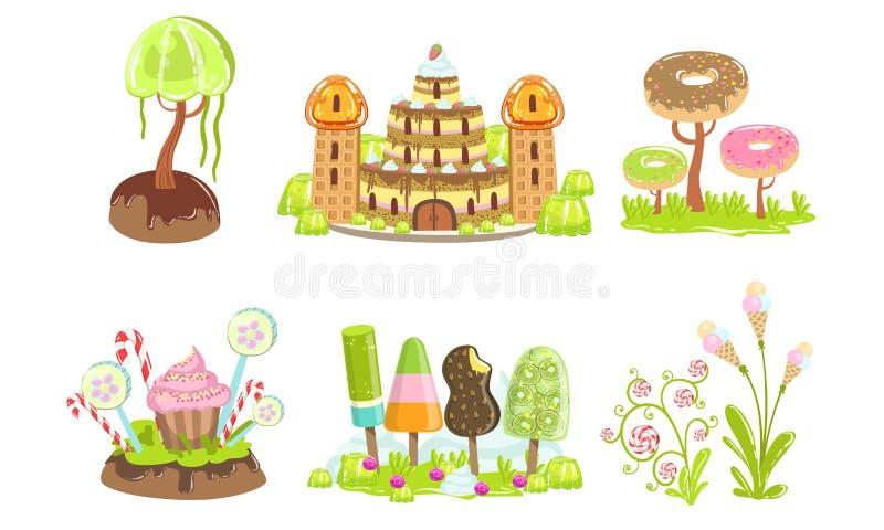Candy Land Set, Sweet Fantasy Landscape Elements, Castle, Trees and Plants, Computer or Mobile Game Assets Vector. Illustration on White Background stock illustration