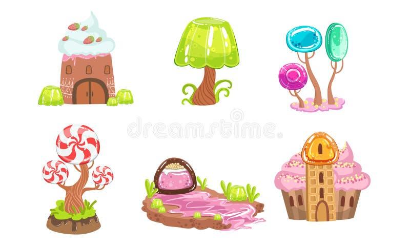 Candy Land Set, Sweet Fantasy Landscape Elements, House, Trees, Plants, Computer or Mobile Game Assets Vector. Illustration on White Background stock illustration