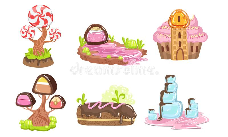 Candy Land Set, Sweet Fantasy Landscape Elements, House, Trees, River, Computer or Mobile Game Assets Vector. Illustration on White Background royalty free illustration