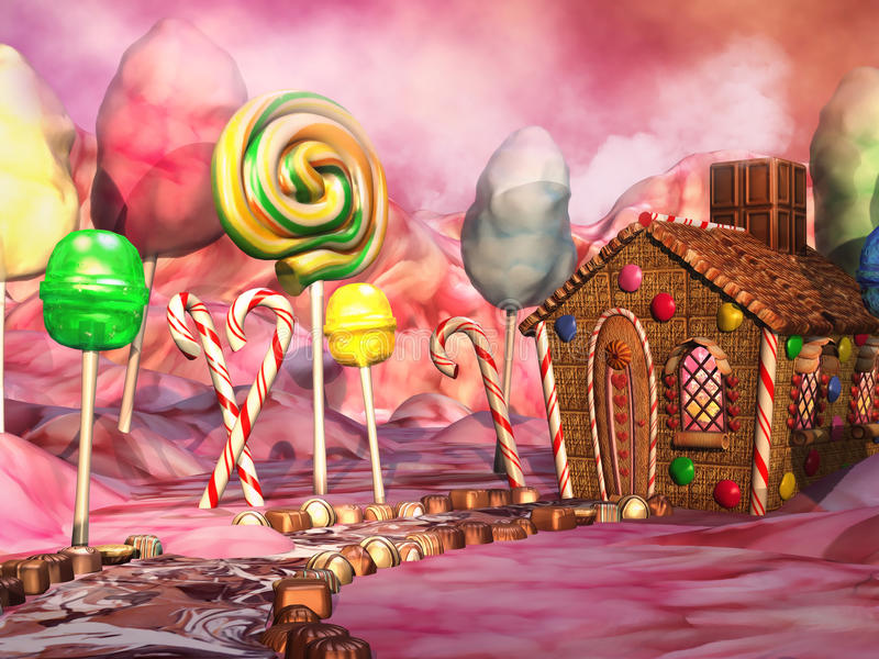 Candy landscape. Fantasy candy land with chocolate and gingerbread house