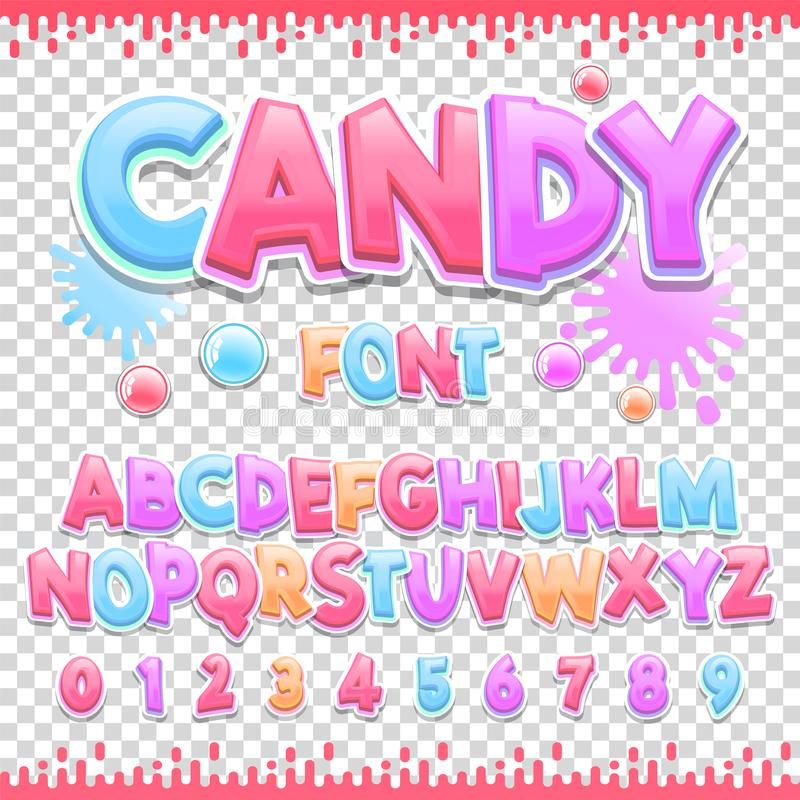 Candy Latin font design. Sweet ABC letters and numbers. Cute children alphabet. stock illustration