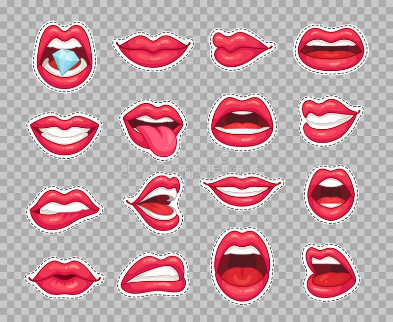 Candy lips patches. Vintage 80s fashion stickers with girl showing tongue and bitten lip with red lipstick. Sticker royalty free illustration