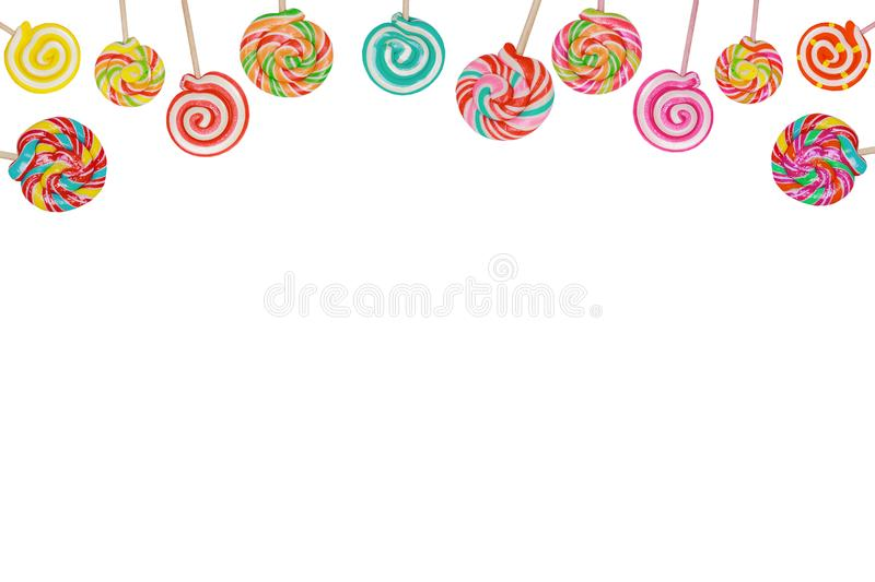 Candy lollipop on stick isolated in white. Rainbow candy lollipop on stick isolated in white stock photo