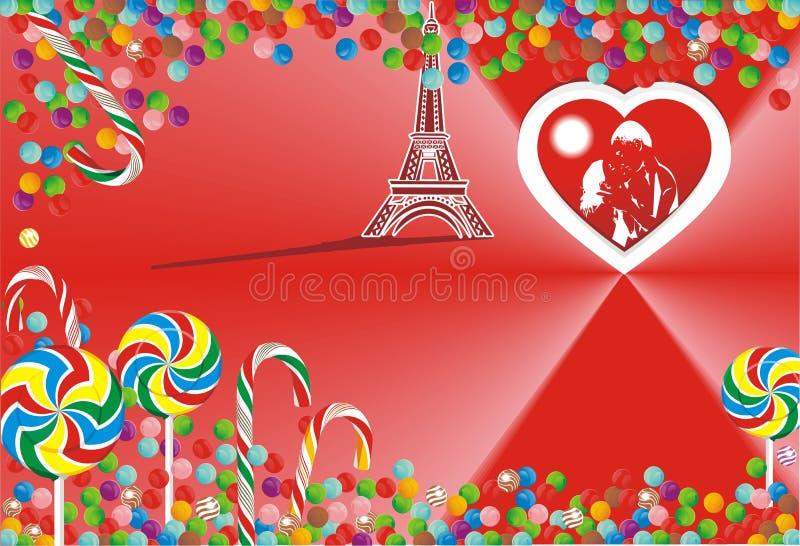 Candy luminoso su fondo rosso illustrazione vettoriale
