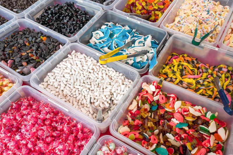 Candy market stall. royalty free stock images