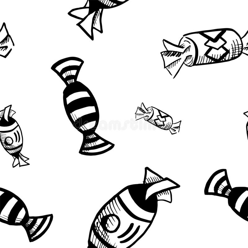 Candy pattern. Hand drawn black doodle candys on white background. Seamless vector backdrop.  stock illustration