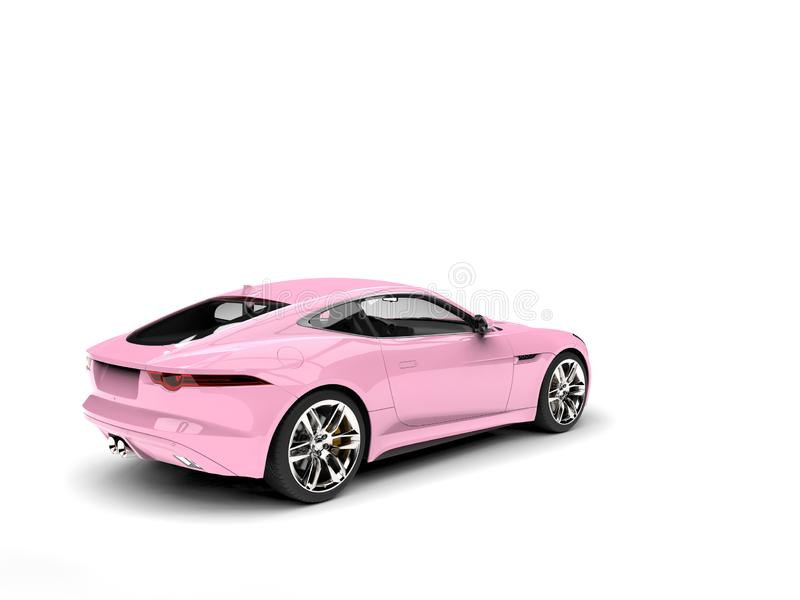 Candy pink modern concept sports car - tail view. Isolated on white background vector illustration