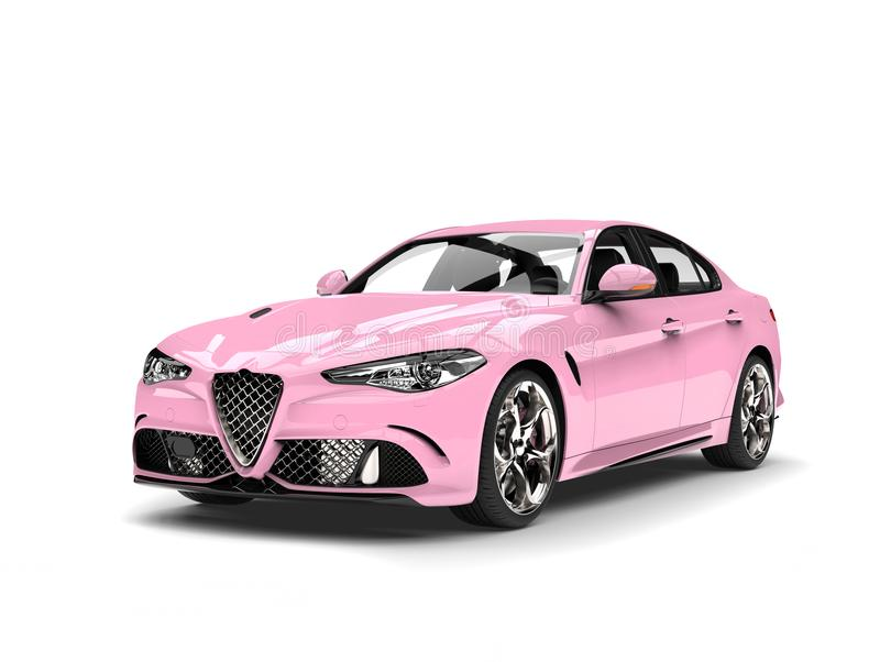 Candy pink modern urban sports car - beauty shot royalty free illustration