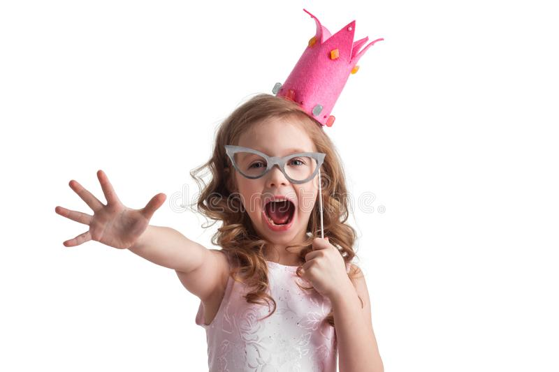 Candy princess girl with party glasses stock photography