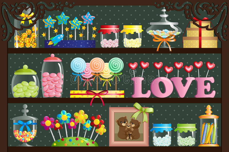 Candy shop. A vector illustration of a colorful candy at candy shop vector illustration