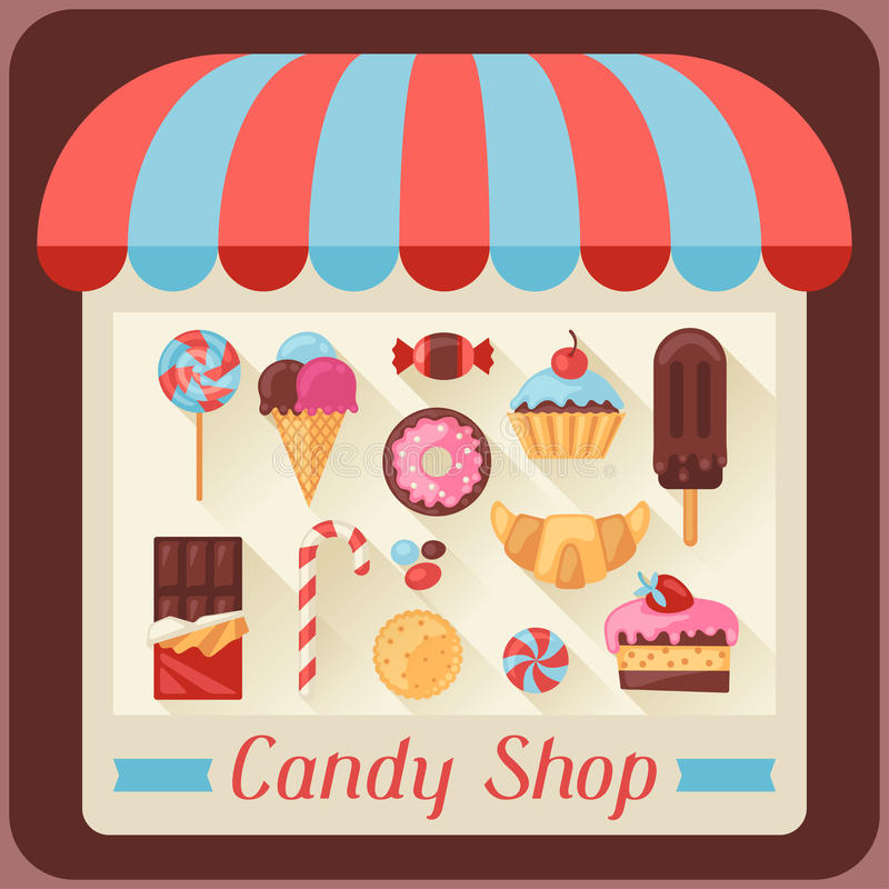 Candy shop background with candy, sweets and cakes.  royalty free illustration