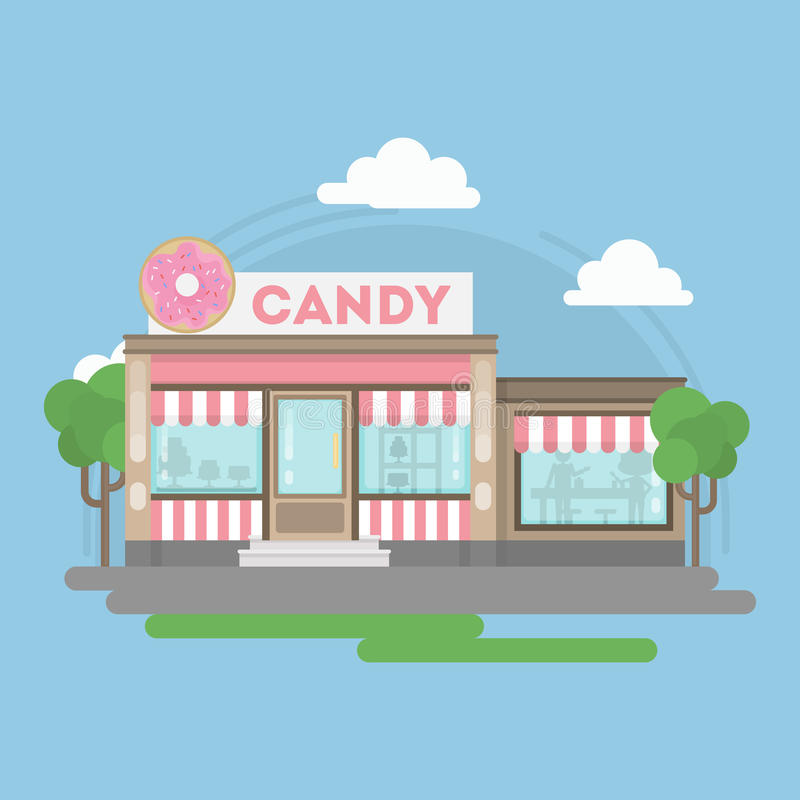 Candy shop building. Urban building with sign and storefront. City landscape with clouds and trees stock illustration