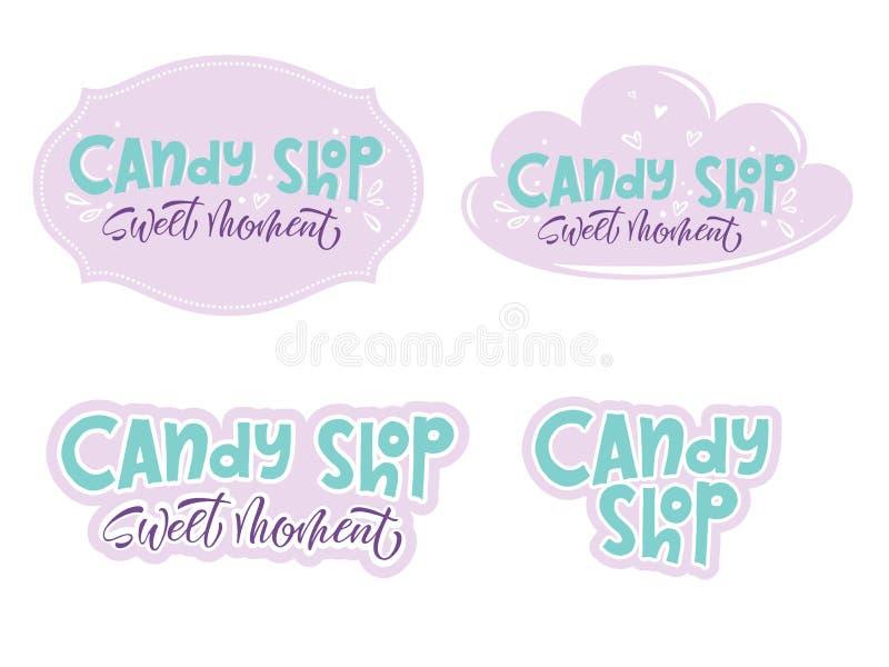 Candy shop. Lettering logo label or emblem, set of stickers for your design in hand drawn style. Vector illustration, EPS 10 vector illustration
