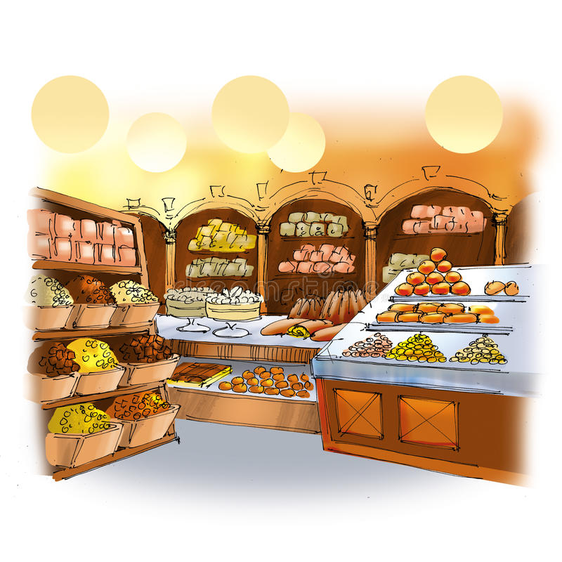 Candy shop. Colorful drawing of candy shop interior with cakes, pies and sweets royalty free illustration