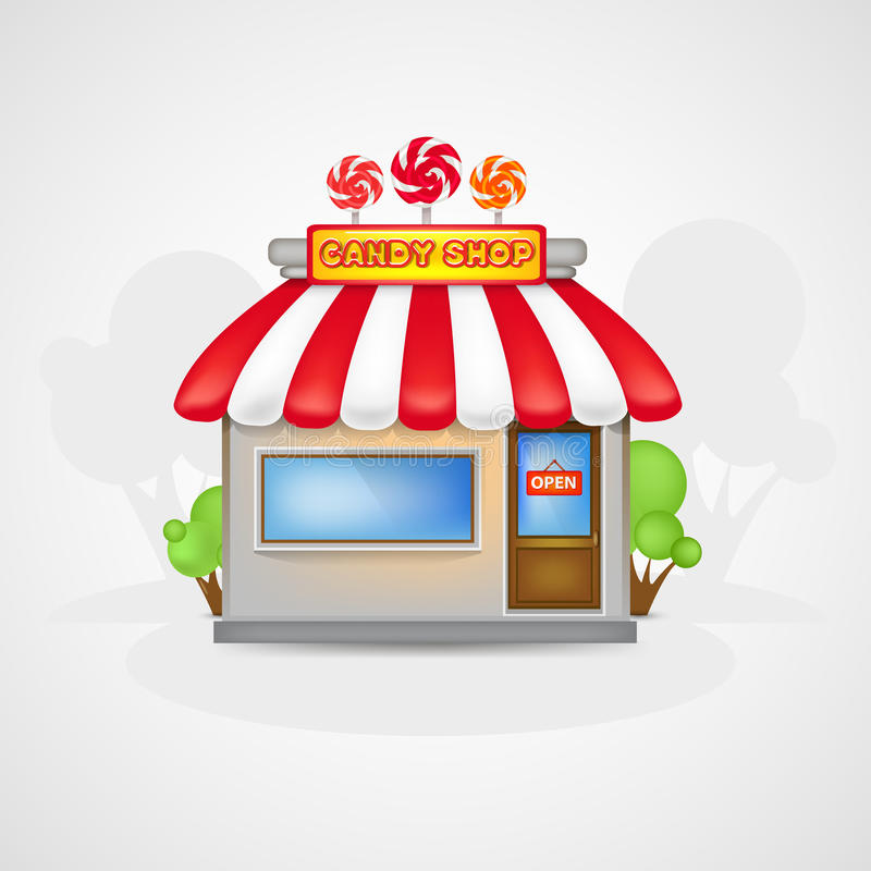 Candy shop. Cute Candy shop icon on a landscape royalty free illustration