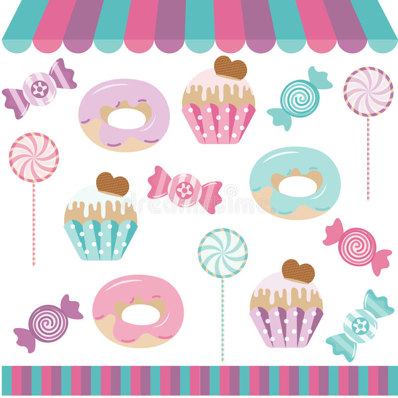 Candy Shop Digital Collage. Scalable vectorial image representing a candy shop digital collage, isolated on white vector illustration