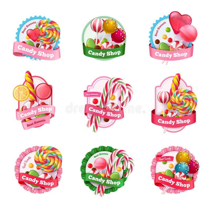 Candy Shop Emblems Set. Candy shop set of emblems with colorful fruit lollipops of various shape, spiral sweets isolated vector illustration vector illustration