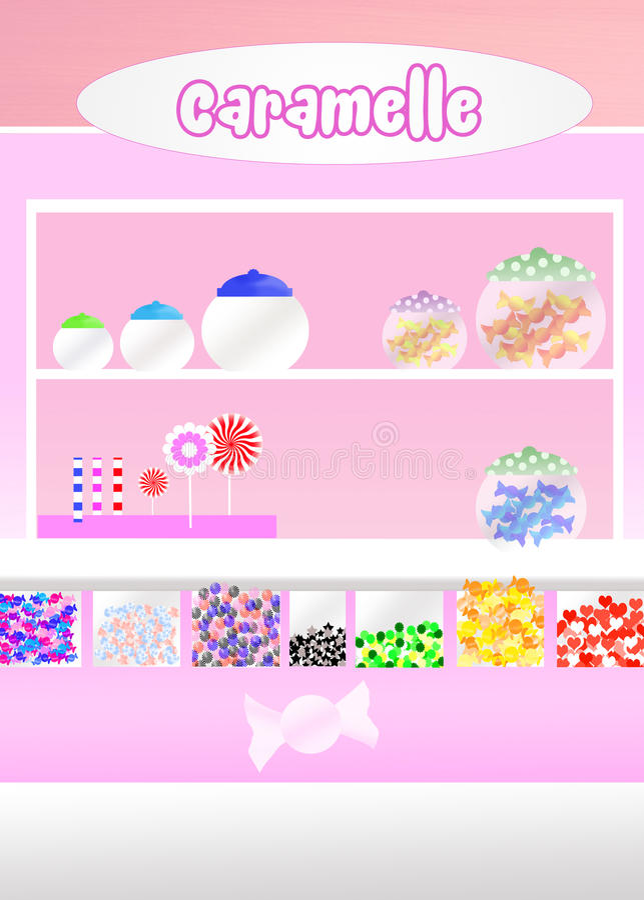Candy shop. Funny illustration of candy shop stock illustration