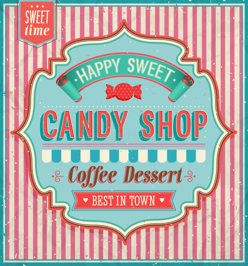 Candy shop. Candy shop happy sweet. Vector illustration royalty free illustration