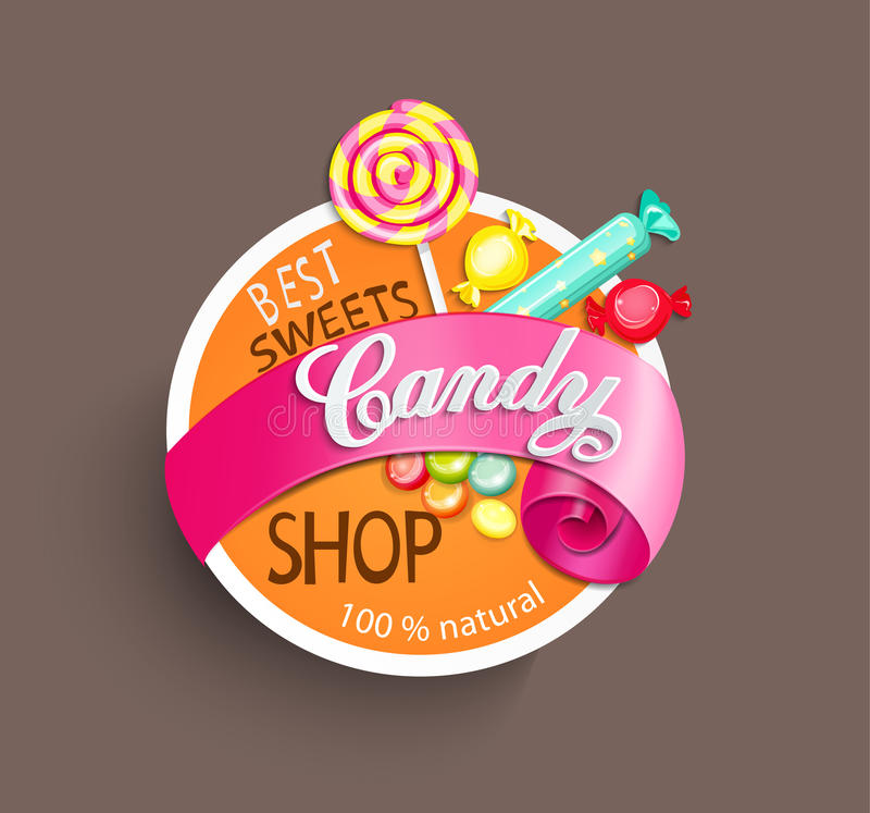 Candy shop label. Paper candy shop label with ribbon, vector illustration vector illustration