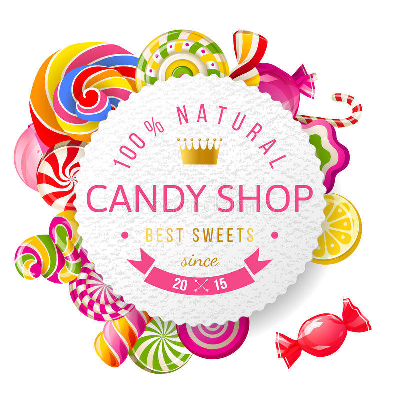 Candy shop label with type design. Paper candy shop label with type design and nuts vector illustration