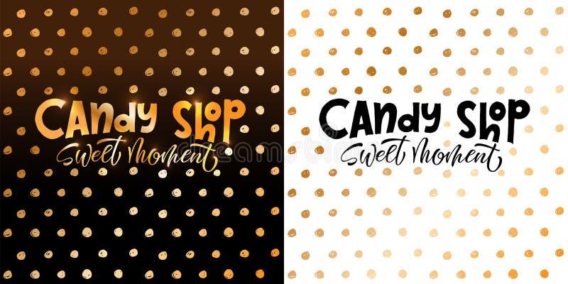 Candy shop. Lettering logo label or emblem for your design in hand drawn style. Vector illustration, EPS 10 stock illustration