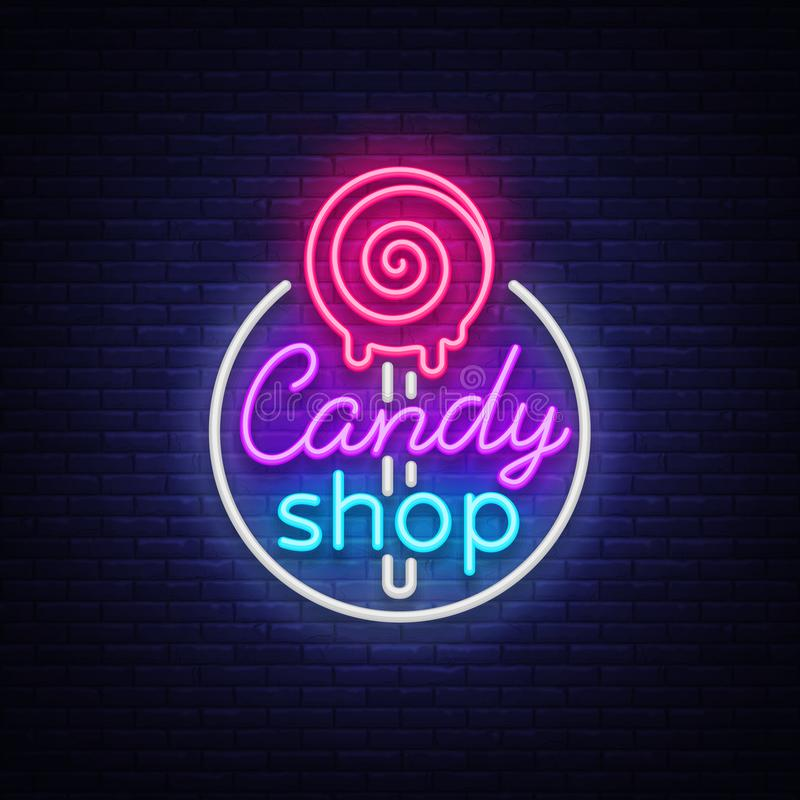 Candy shop logo in neon style. Store sweets neon sign, banner light, bright neon night sweets advertising. Design. Template for your projects. Vector vector illustration