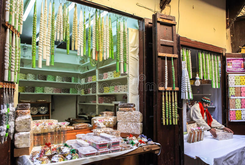 Candy shop in Medina of Fez in Morocco royalty free stock photos