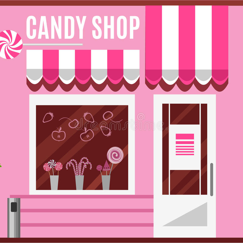 Candy shop in a pink color. Flat vector design. Candy shop in a pink color. Flat design vector illustration of small business concept.Tasty candies in a store royalty free illustration